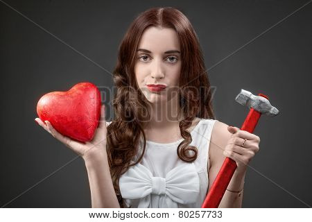 Woman with broken heart