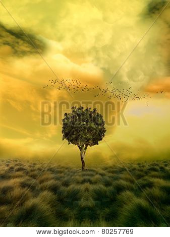 loneliness tree in a fantasy field and birds poster