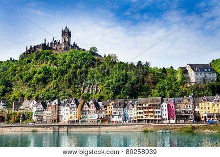 Panorama of Cochem with the Cochem Imperial Castle on the mountain and Mosel  river bellow at spring, Germany poster