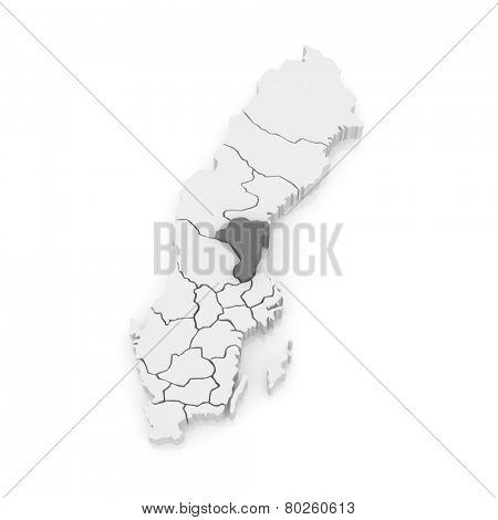 Map of Gavleborg. Sweden. 3d