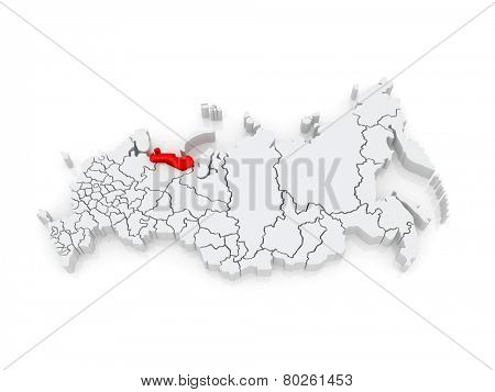 Map of the Russian Federation. Nenets Autonomous Okrug. 3d