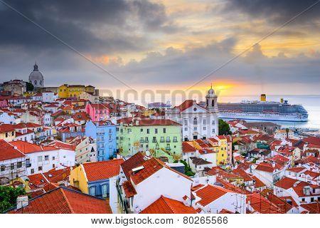 Lisbon, Portugal sunrise skyline at Alfama District.
