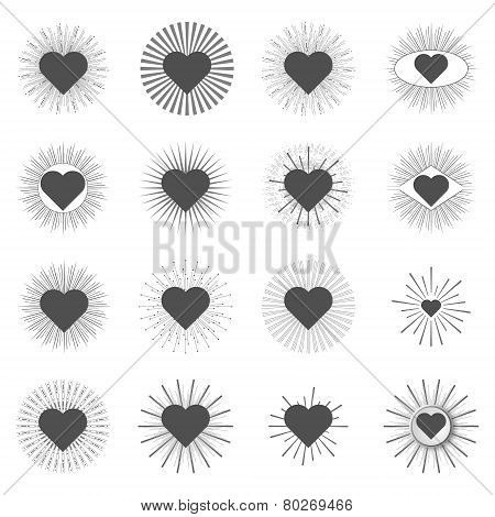 Set Heart Sunburst Templates For Labels