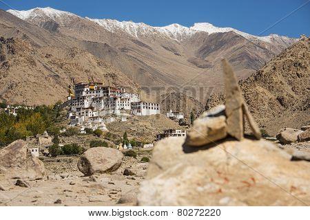 Likir Monastery and snow mountain range Ladakh ,India - September 2014