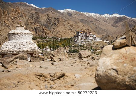 Likir Monastery and snow mountain range Ladakh ,India - September 2014