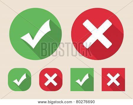 Checkmark and cross icons