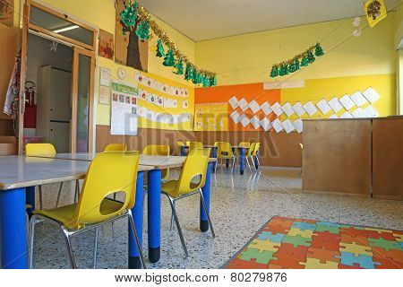 Preschool Classroom With Chairs And Table