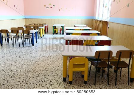 Chairs And Small Tables Of The Refectory In Early Childhood School
