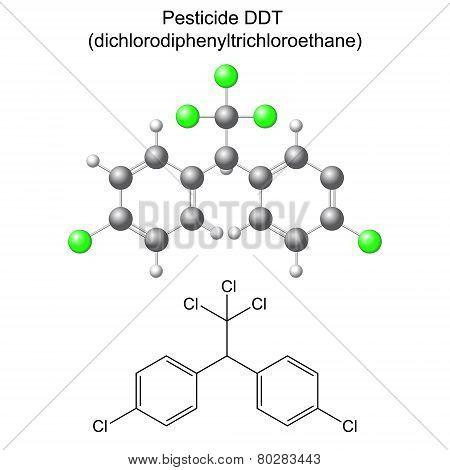 Structural chemical formula and model of DDT pesticide, 2d & 3d illustration, vector, eps8 poster
