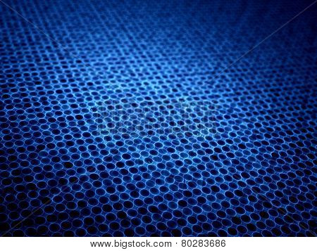 Blue Glowing Microlenses In Mesh