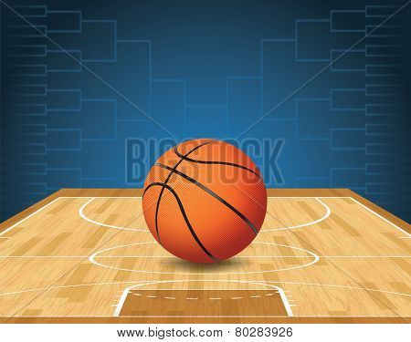 Basketball Court And Ball Tournament Illustration