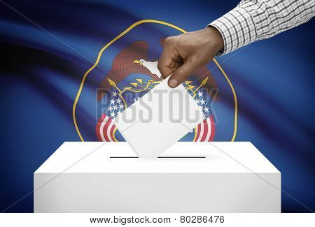 Voting concept - Ballot box with US state flag on background - Utah poster