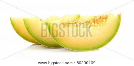 Close-up Shot Melon Galia Slices, Pieces Isolated White In Studio