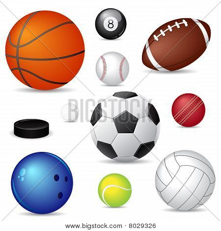 Vector illustration of sport balls over white poster
