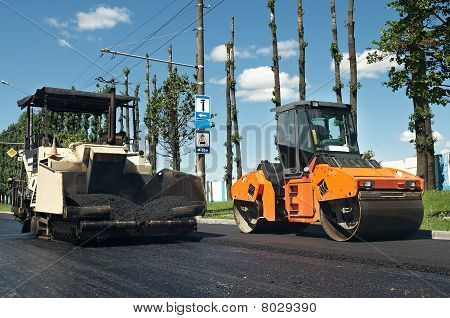 Asphalt Pavement Machinery At Work