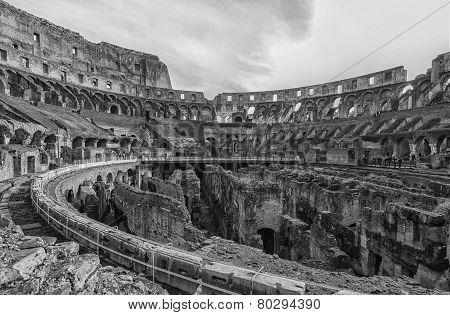 Rome Colosseum Interior Pano Mono