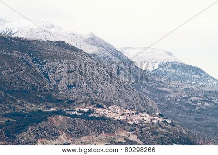 Delphi And Mount Parnassos At Winter