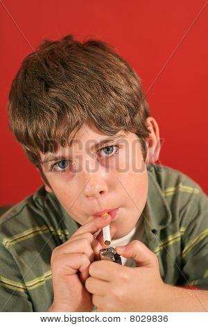 child lighting a cigarette vertical
