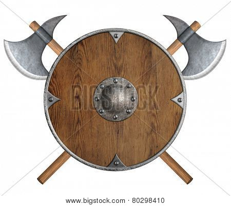 old wooden vikings' shield and two crossed axes isolated poster