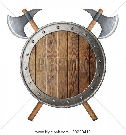 round wooden knight shield and two crossed battle-axes isolated