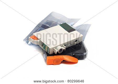 Inkjet Printer Cartridges Isolated On A White Background