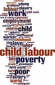 Child labour word cloud concept. Vector illustration on white poster