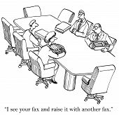 The mediators are playing poker with their fax machines in the meeting room. poster