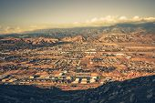 Banning California Panorama and San Bernardino Mountains at Sunset. Banning is a City in Riverside County California United States poster