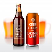 Beer bottle and can with label - Keep Calm and drink beer, vector eps10 illustration. poster