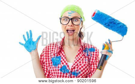 Shocked Woman With Roller Ready For Wall Painting Or New Home Renovating, Isolated On White