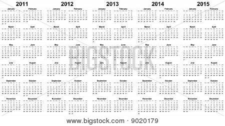 calendar for year 2011 2012 2013 2014 2015
