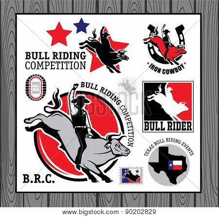 Rodeo Cowboy riding a bull, Retro style Poster.