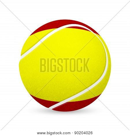 Tennis Balls With Spanish Flag Isolated On White.