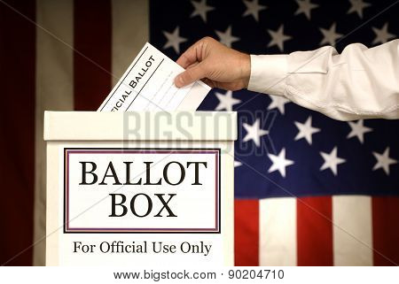 Hand Putting Vote In Ballot Box