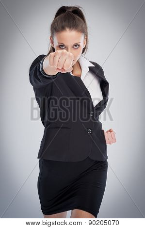 Female Boss Punching At Camera