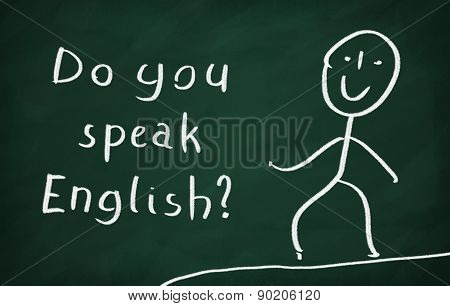 On the blackboard draw character and write Do you speak English? t-shirt