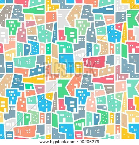 Brazilian favela. Bright colored seamless pattern.
