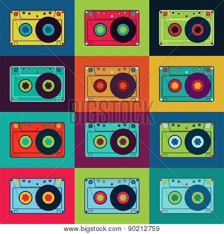 Set of retro audio cassettes. Retro poster with colorful cassettes. Vector illustration.