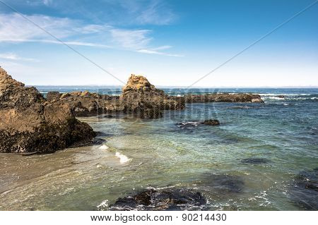 The rocks on the coast of Fort Bragg, California