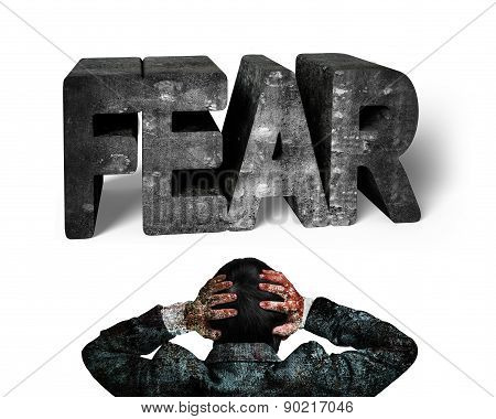 Businessman Hands Holding Head Facing 3D Fear Mottled Concrete Word