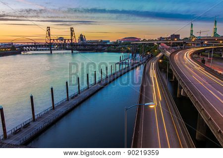 Sunset View Over Interstate 5 In Portland Oregon