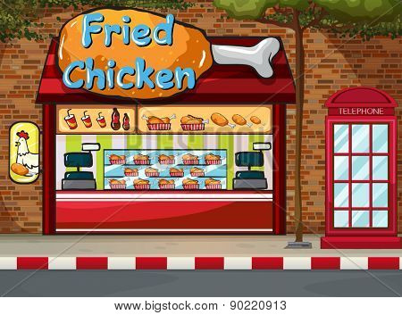 Fastfood shop on the street by the sidewalk