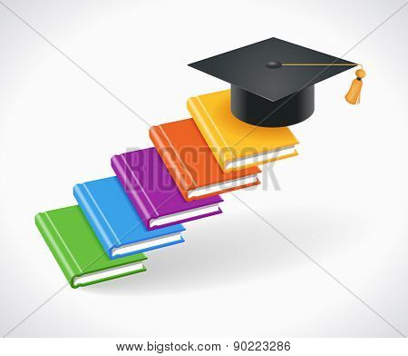 Concept of Education. Books are in the form of steps with an academic cap on top