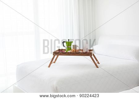 Breakfast Tray With Coffee On Bed