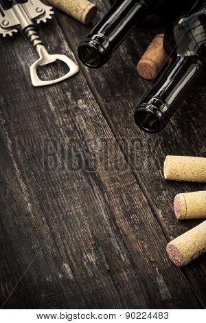 Bottles Of Wine,  Corks And Corkscrew