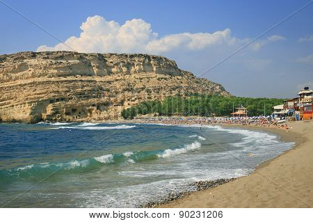 Coast of Crete island in Greece. Red Beach of famous Matala.