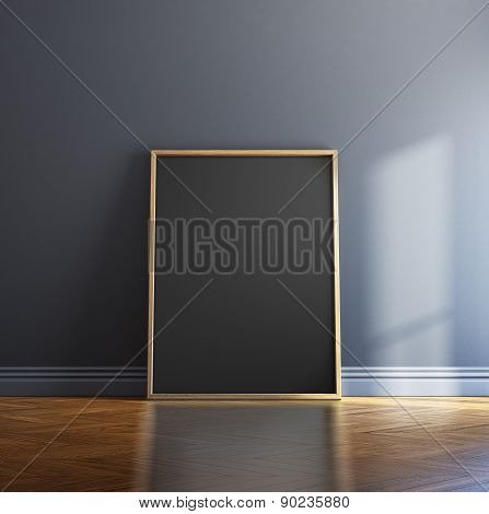 Blank picture frame and sunlight on a wall. 3d rendering