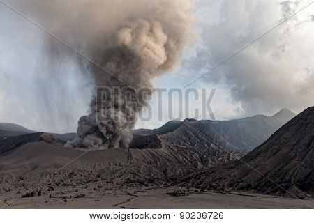 JAVA, INDONESIA - JULY 1: Mount Bromo erupts spewing out ash and smoke on July 1, 2011 in Java, Indonesia. Indonesia sits on the 'ring of fire' with many active volcanoes and prone to earthquakes.