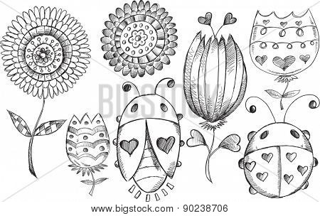 Doodle Sketch Spring Flower Bug Vector Illustration Set