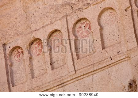Frescoe Of Crosses At Goreme Church In Cappadocia